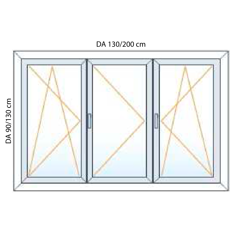 Finestre in pvc 3 ante generaltek for Finestre velux misure standard
